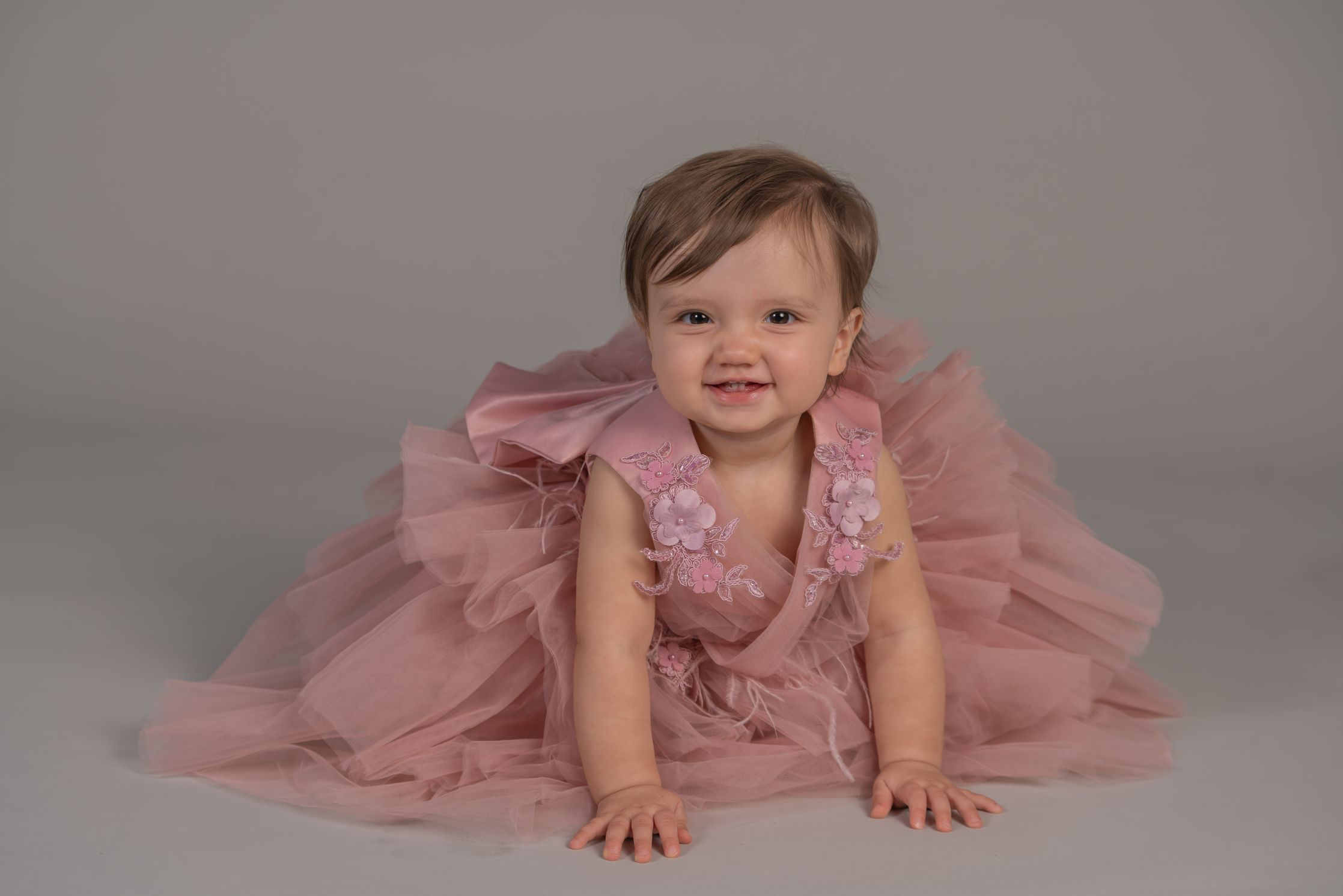 Baby Girl Photoshoot With Pink Dress