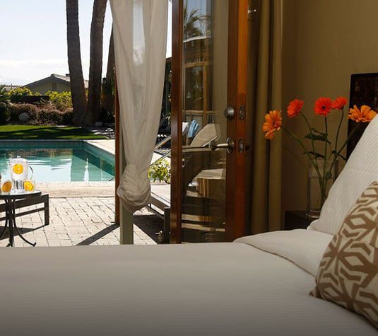 Room with view of pool