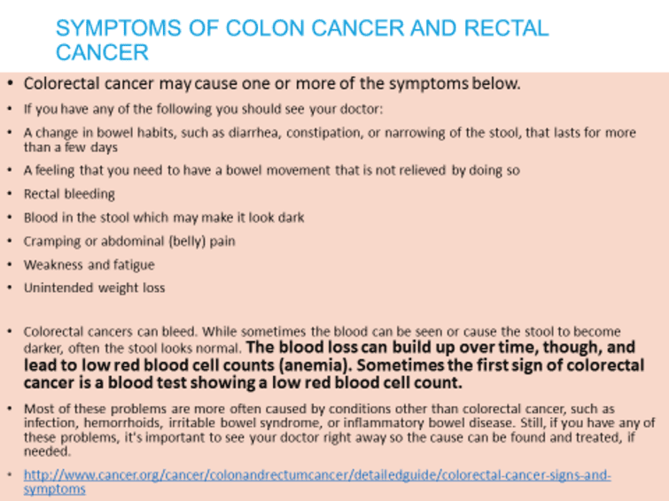 symptoms of colon cancer and rectal cancer